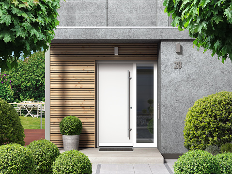 Voordeur van kunststof en aluminium